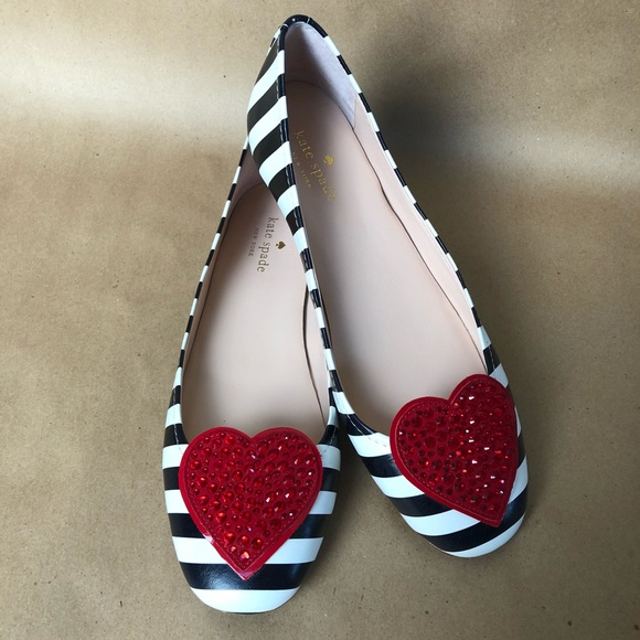 40413953c kate spade Shoes - Kate Spade Kade Heart Black White Stripe Flats ♥️